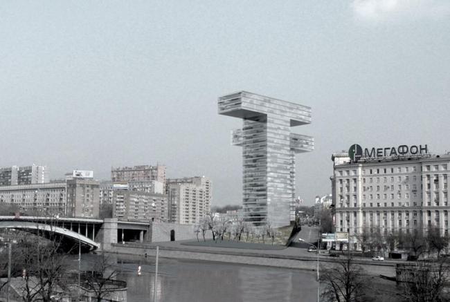 Многофункциональный комплекс с апартамент-отелем на Таганке. Вариант 2 © Сергей Скуратов ARCHITECTS