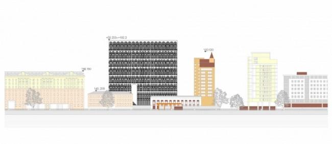 Жилой дом с арками в 1-м Тружениковом переулке © Цимайло, Ляшенко и Партнеры + Antonini Darmon. Изображение предоставлено пресс-службой «Москомархитектуры»