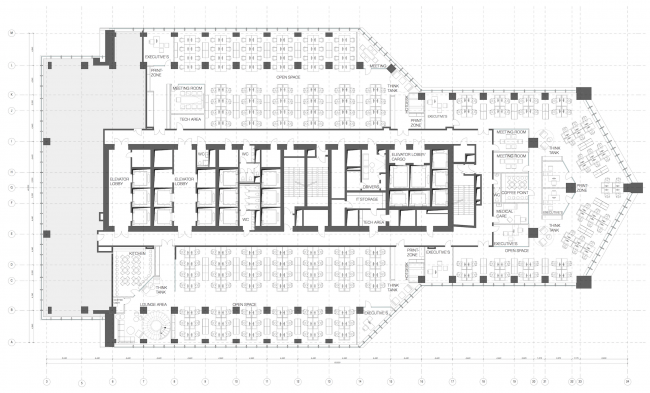 Office of Orange Business Services in the Mercury Tower. Plan of the 10th floor. Implementation, 2016 © T+T Architects