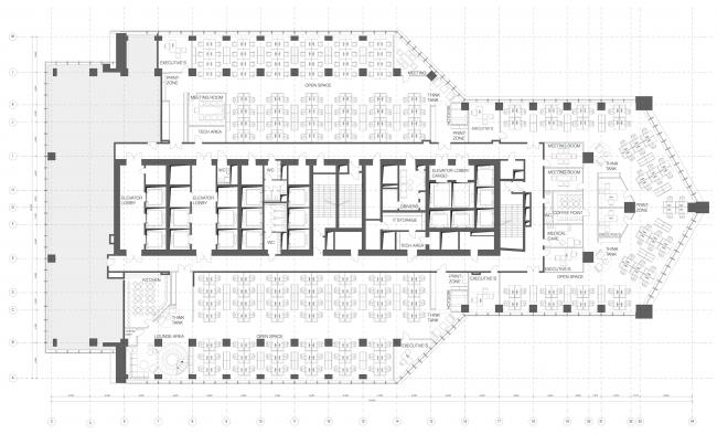 Офис Orange Business Servicesв башне «Меркурий». План 10 этажа. Реализация, 2016 © T+T Architects