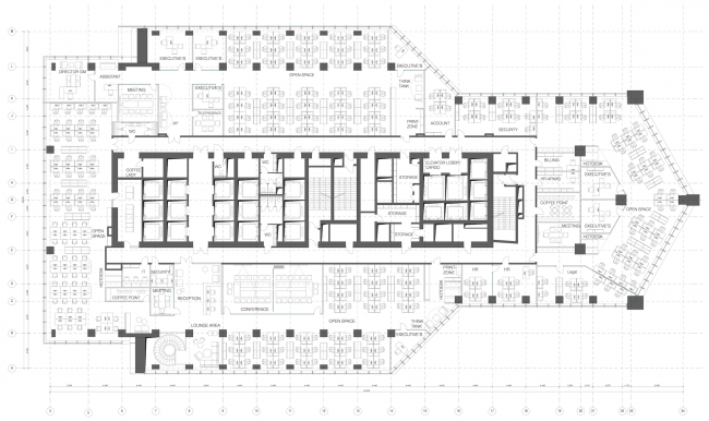 Office of Orange Business Services in the Mercury Tower. Plan of the 11th floor. Implementation, 2016 © T+T Architects