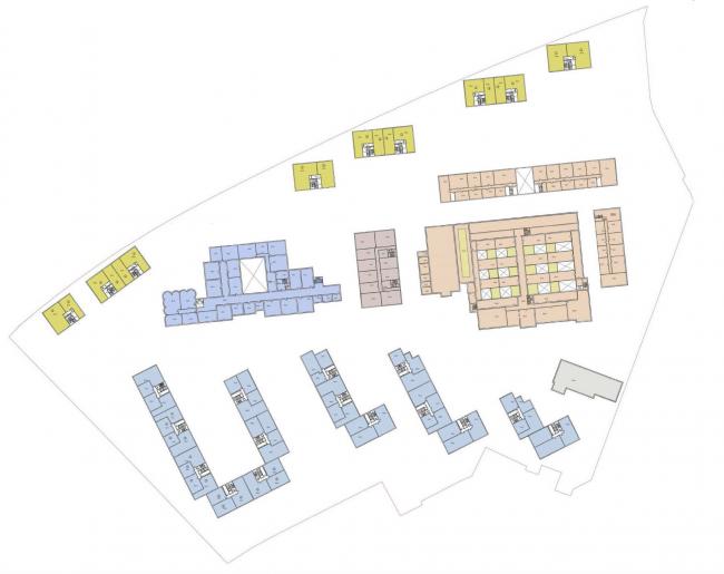 Жилая застройка на территории Бадаевского завода. План типового этажа. Конкурсный проект, 2016 © Архитектурная мастерская «ГРАН»