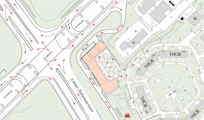 Многофункциональный комплекс в Раменках. Генеральный план и траспортная схема. Проект, 2013 © Архитектурная мастерская «ГРАН»
