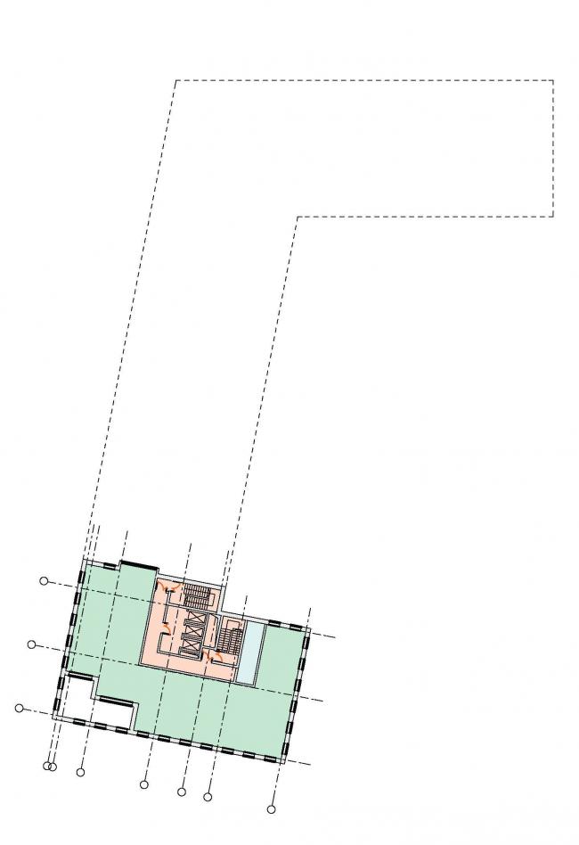 Многофункциональный комплекс в Раменках. План 22 этажа. Проект, 2013 © Архитектурная мастерская «ГРАН»