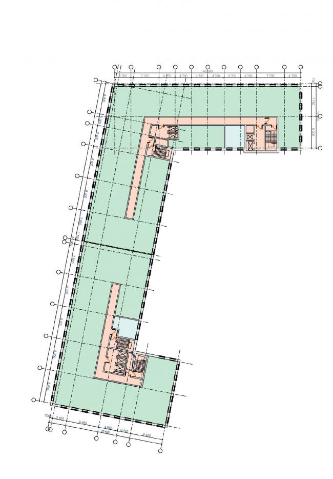 Многофункциональный комплекс в Раменках. План типового этажа. Проект, 2013 © Архитектурная мастерская «ГРАН»