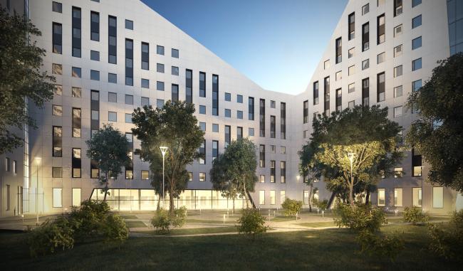 Многофункциональный комплекс в Раменках. Проект, 2013 © Архитектурная мастерская «ГРАН»