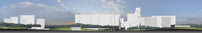 Многофункциональный комплекс в Раменках. Развертка по ул. Лобачевского. Проект, 2013 © Архитектурная мастерская «ГРАН»