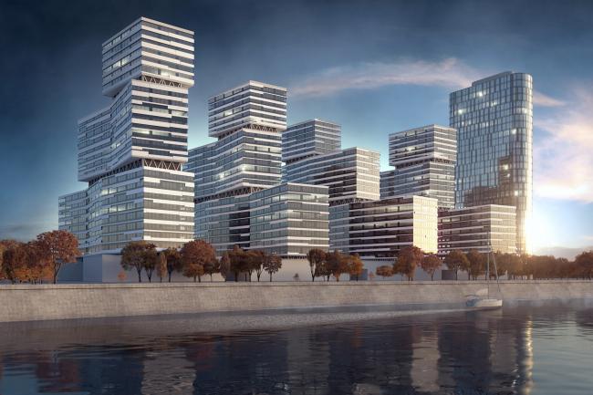 Жилой комплекс на Симоновской набережной. Проект, 2016 © Архитектурная мастерская «ГРАН»