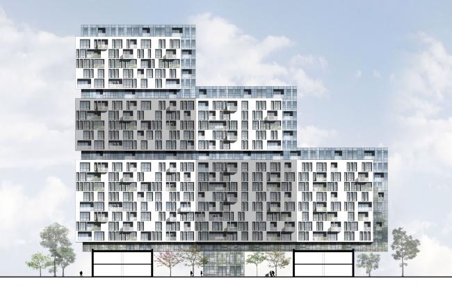 Жилой комплекс на Симоновской набережной. Фасад. Проект, 2016 © Архитектурная мастерская «ГРАН»