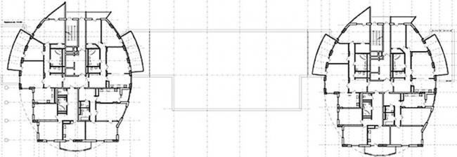 Жилые дома «Трубки мира». План типового этажа © Архстрой