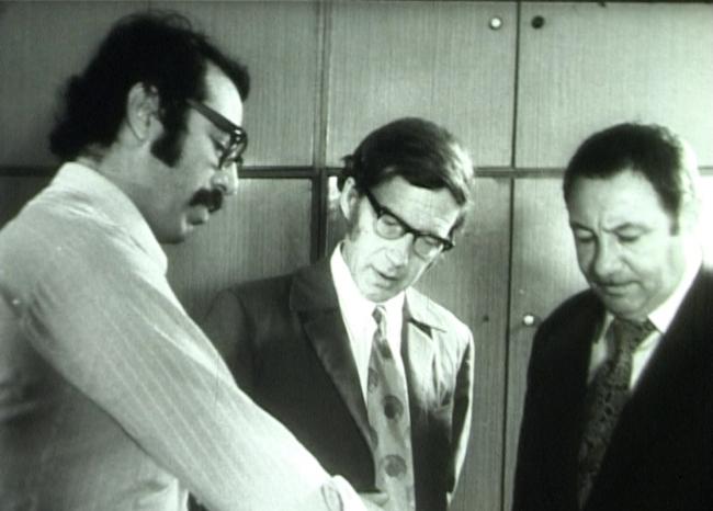 Слева направо: Григорий Саевич, Феликс Новиков, Эрнст Неизвестный.Кадр из документального фильма «Мой город». 1973 г.