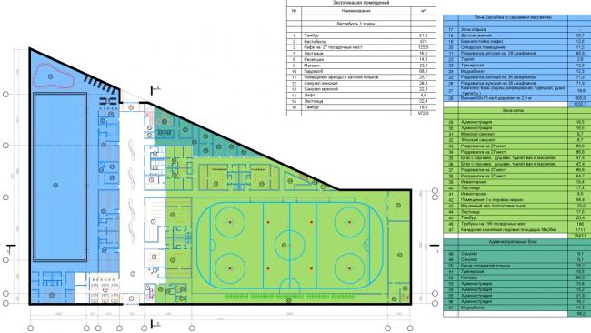 Спортивно-оздоровительный комплекс в Химках. План 1 этажа. Проект, 2016 © Архитектуриум