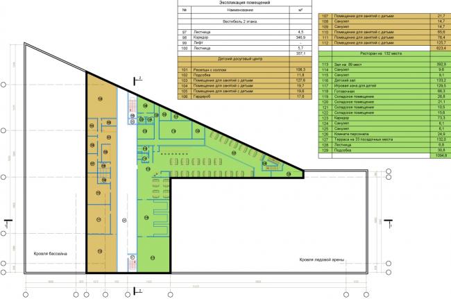 Спортивно-оздоровительный комплекс в Химках. План 3 этажа. Проект, 2016 © Архитектуриум