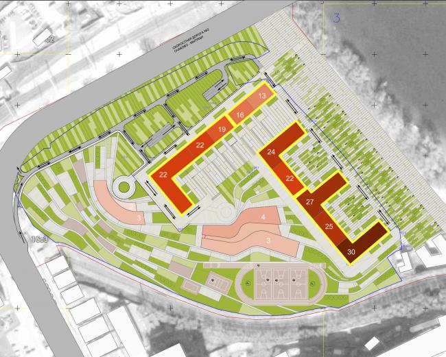 Многофункциональный жилой комплекс на территории завода «Филикровля». Схема разбивки на адреса. Проект, 2016 © SPEECH