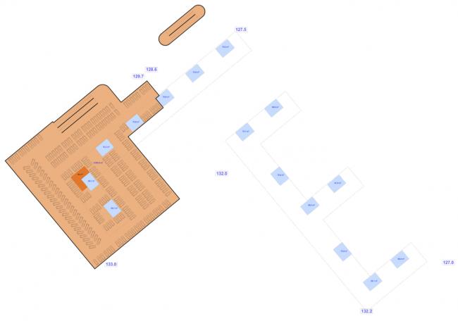 План верхнего яруса подземной парковки. Многофункциональный жилой комплекс на территории завода «Филикровля». Проект, 2015 © SPEECH