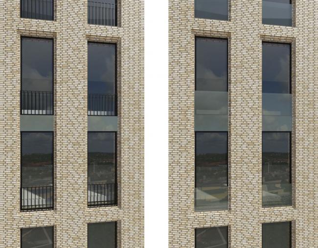 Многофункциональный жилой комплекс на территории завода «Филикровля». Варианты решения ограждений французских балконов. Проект, 2015 © SPEECH
