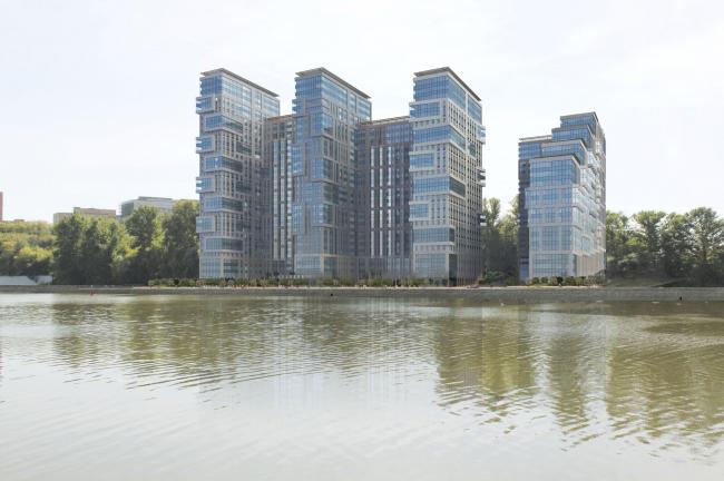 Многофункциональный жилой комплекс на территории завода «Филикровля». Фотомонтаж с северо-востока. Проект, 2015 © SPEECH