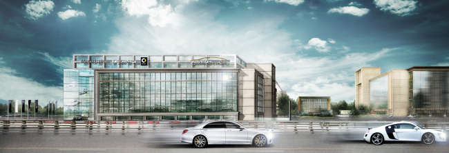 Dealership center of Mercedes-Benz and Audi on the territory of ZIL Plant. Project, 2016 © Kleinewelt Architekten