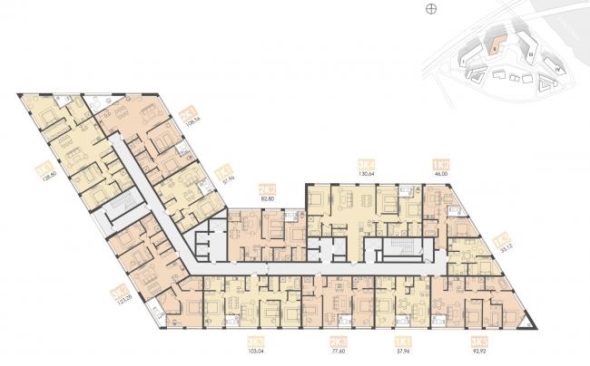 Многофункциональный жилой комплекс на территории завода «Филикровля». План типового этажа (дом 2). Проект, 2015 © Архиматика