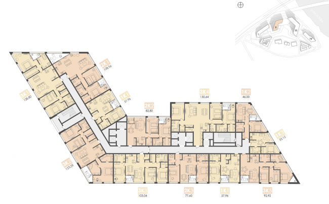 Mixed-use complex on the territory of the Milikrovlya factory. Plan of the standard floor (Building 2). Project, 2015 © Archimatika