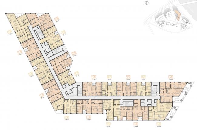 Многофункциональный жилой комплекс на территории завода «Филикровля». План типового этажа (дом 3). Проект, 2015 © Архиматика