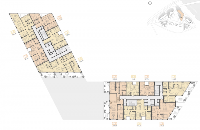 Mixed-use complex on the territory of the Milikrovlya factory. Plan of the standard floor of the tower (Building 3). Project, 2015 © Archimatika