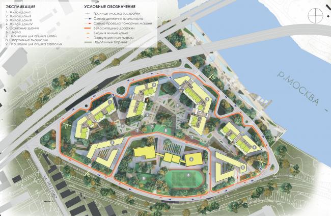 Многофункциональный жилой комплекс на территории завода «Филикровля». Генеральный план. Проект, 2015 © Архиматика