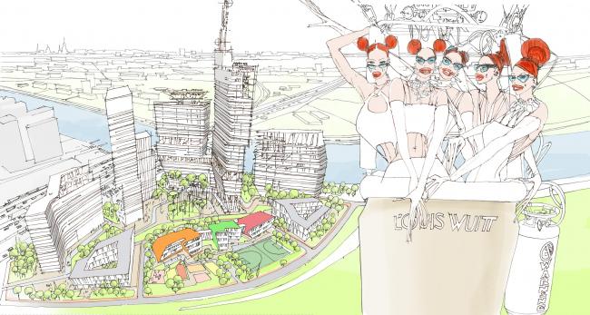 Многофункциональный жилой комплекс на территории завода «Филикровля». Эскиз. Проект, 2015 © Архиматика