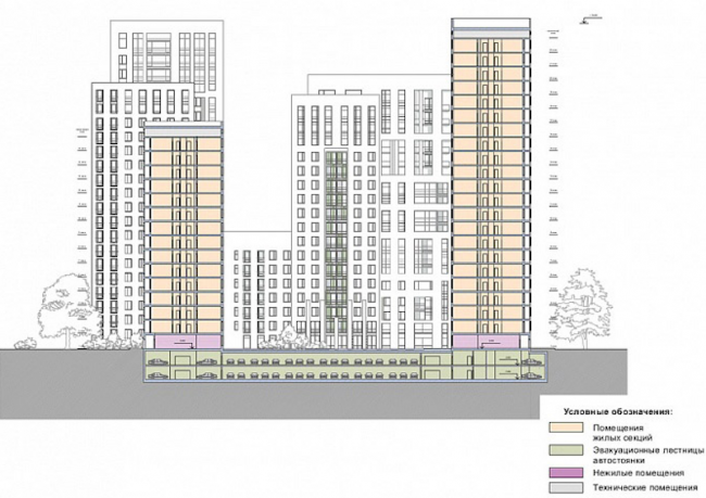 Многоквартирный жилой комплекс «Берзарино». Разрез. Проект, 2016 © Архитектурная мастерская «ГРАН»