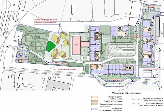 Многоквартирный жилой комплекс «Берзарино». План 1 этажа. Проект, 2016 © Архитектурная мастерская «ГРАН»
