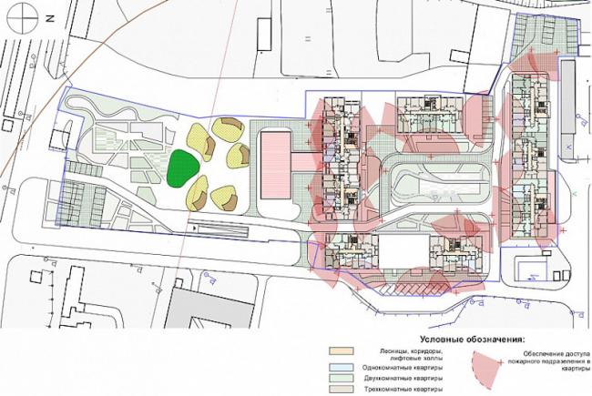 Многоквартирный жилой комплекс «Берзарино». План типового этажа. Проект, 2016 © Архитектурная мастерская «ГРАН»