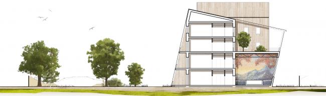 Проект детского хосписа. Разрез. 2013 © Архитектурная мастерская «ГРАН»