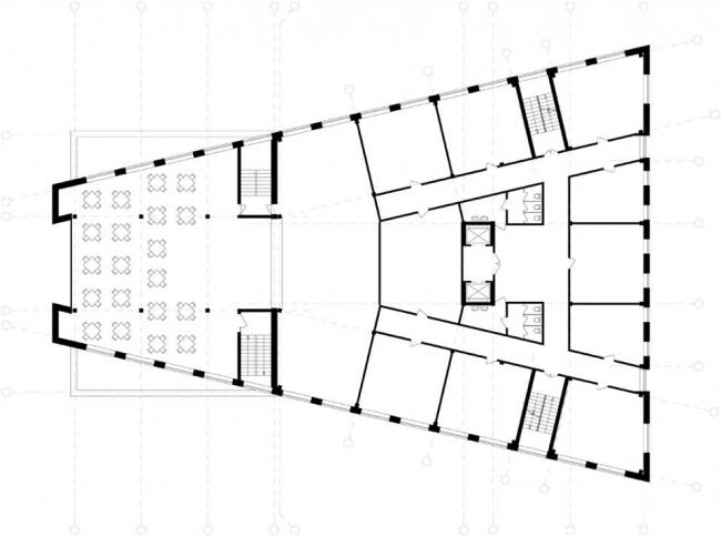 Административное здание на ул. Деловая. План типового этажа © Архитекторы: А. Худин, И. Широков