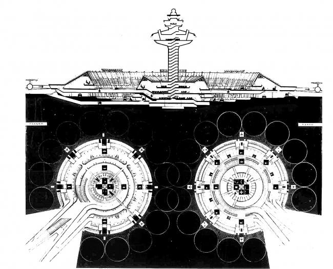 Аэропорт Звартноц в Ереване. Разрез и планы. Проект 1974 года. Изображение предоставлено издательством ТАТЛИН