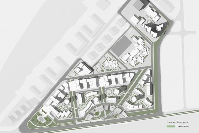Архитектурно-градостроительная концепция застройки в Нагатинской пойме. Схема благоустройства и озеленения. Проект, 2016 © ПТАМ Виссарионова