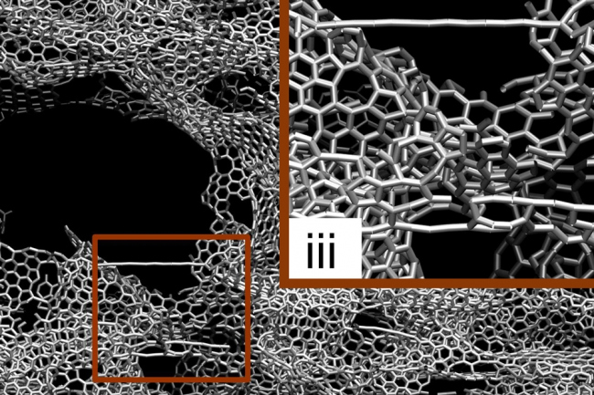 Результаты моделирования испытаний на растяжение и сжатие трехмерного графена. Изображение: Чжао Цинь (Zhao Qin), MIT