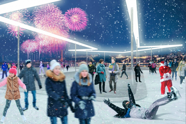 Архитектор Арсений Тюрин предлагает  устроить на мысу Стрелки каток. Изображение © Арсений Тюрин
