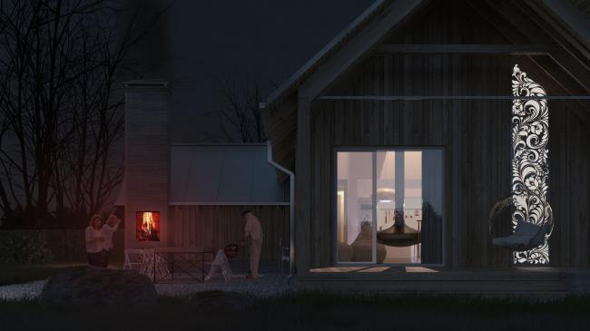 Русский стиль. Флагман. Вид на главный фасад ночью © Ilya Samsonov Architecture & Design
