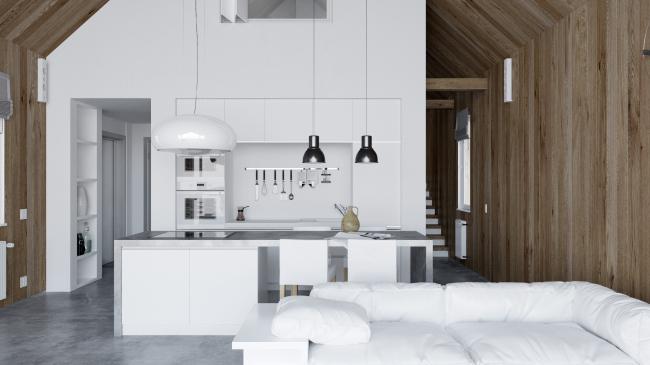 Русский стиль. Интерьер: вид на многофункциональный блок © Ilya Samsonov Architecture & Design