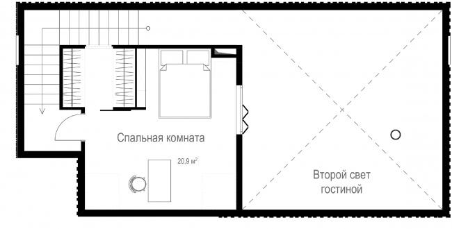 Русский стиль. Студия, Флагман. План 2 этажа © Ilya Samsonov Architecture & Design