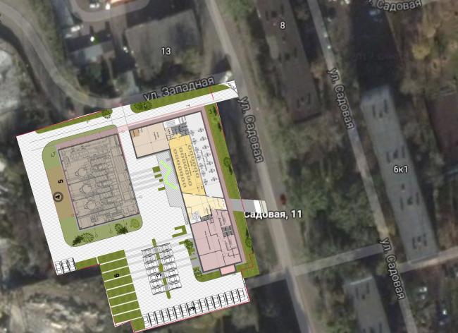 Административно-офисное здание с водогрейный котельной в г. Одинцово. Генеральный план. Проект, 2015 © Архстройдизайн