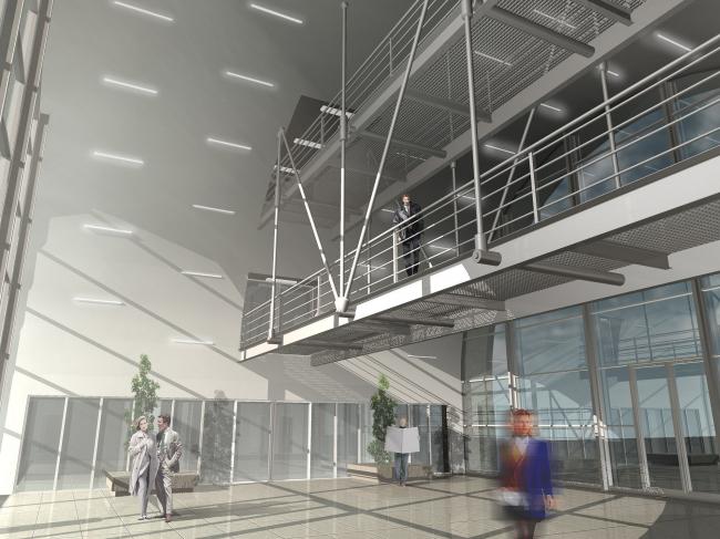 Офисное здание на Можайском шоссе. Вариант 2008 года (второй вариант). Интерьер атриума с бетонным сводом.