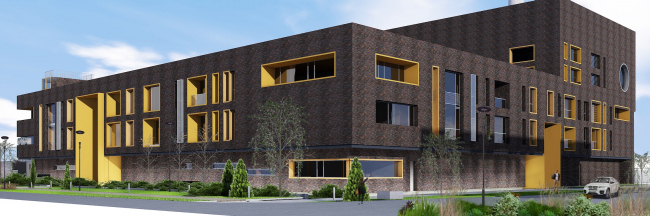 The administrative and office building with a heating boiler-house in the town of Odintsovo. Project, 2015 © Arkhstroydesign