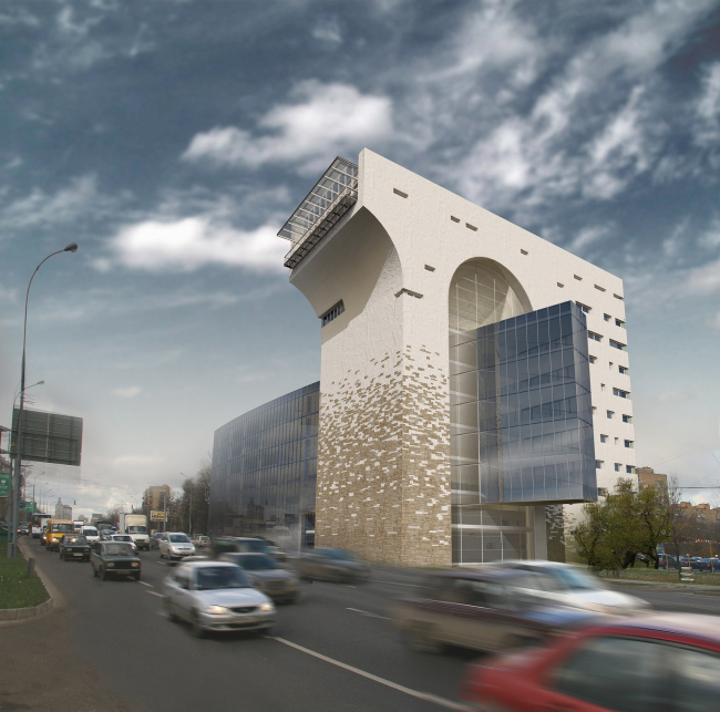 Офисное здание на Можайском шоссе. Вариант 2008 года (второй вариант) © Мастерская архитектора Бавыкина