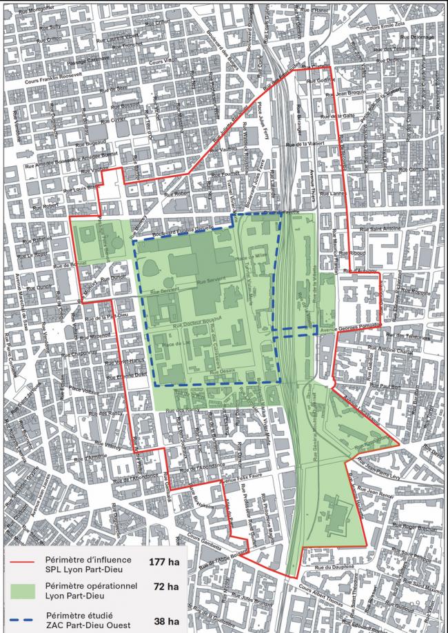 Пар-Дьё, ситуационный план. Синим шрихом выделена территория модернистского комплекса, красной сплошной линией – зона трансформации, охваченная планом AUC