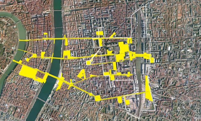 Система открытых общественных пространств, связывающих исторический центр на Полуострове и Пар-Дьё © AUC