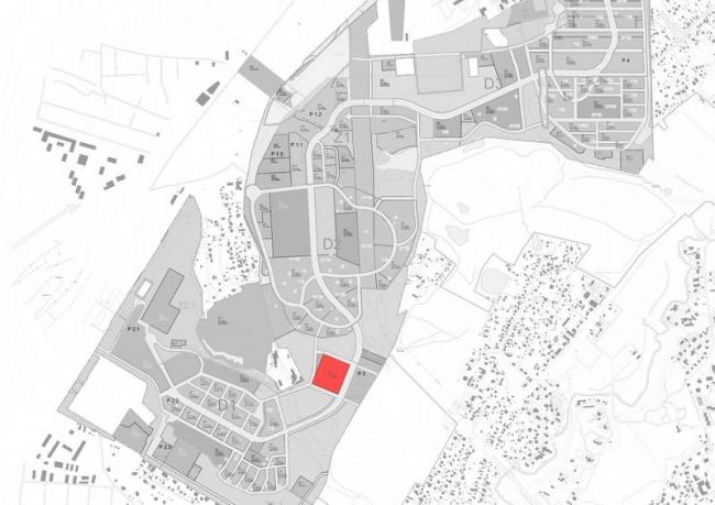 Международный медицинский кластер в Сколково. Расположение блока первой очереди на генплане ИЦ «Сколково». Изображение предоставлено Архитектурным бюро Асадова