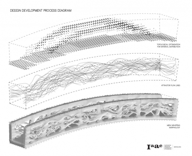 Топологическая оптимизация распределения материала, линии потоков аттрактора и морфология оболочки моста. Изображение: IAAC