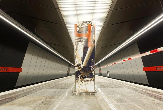 Станция метро «Минская» – стены отделаны металлическими плитами. Проектировщик: «Метрогипротранс».  Фотография предоставлена компанией «АСП-Технолоджи»