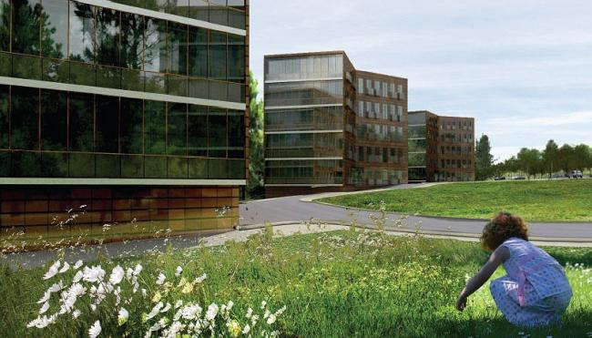 Жилая зона. Пятиэтажные дома поставлены углами-галочками, два фасада у них кирпичные, а два торцевых - целиком стеклянные